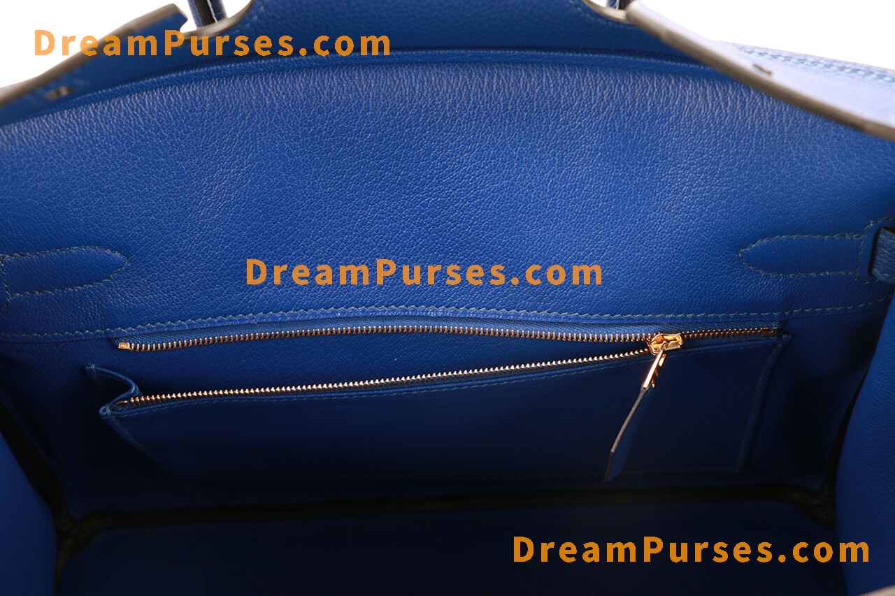 Same Chèvre leather interior as the authentic Hermes Birkin bag