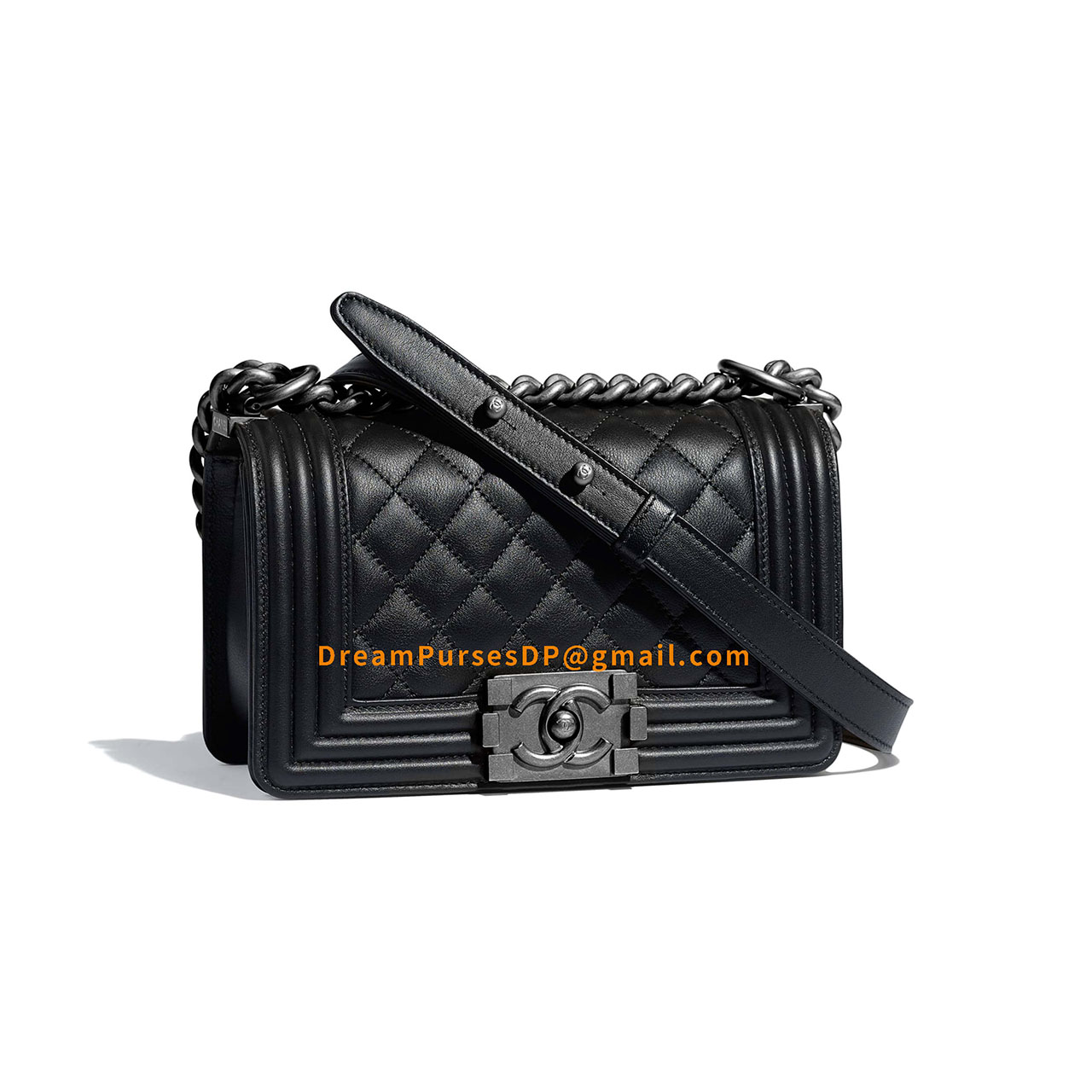 Chanel Boy Bag Small In Black Lambskin With Silver HW