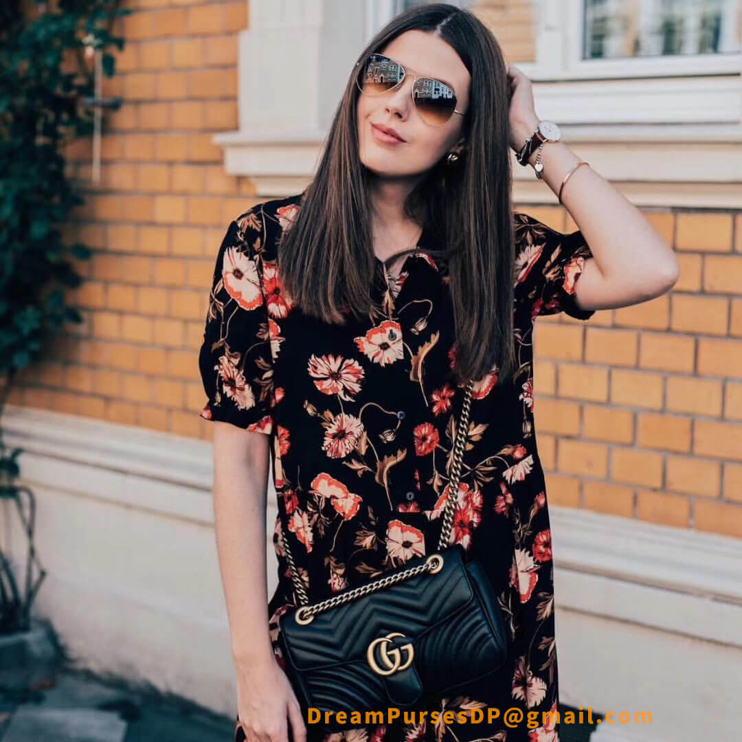 Gucci GG Marmont Metalasse Shoulder Bag Black Replica