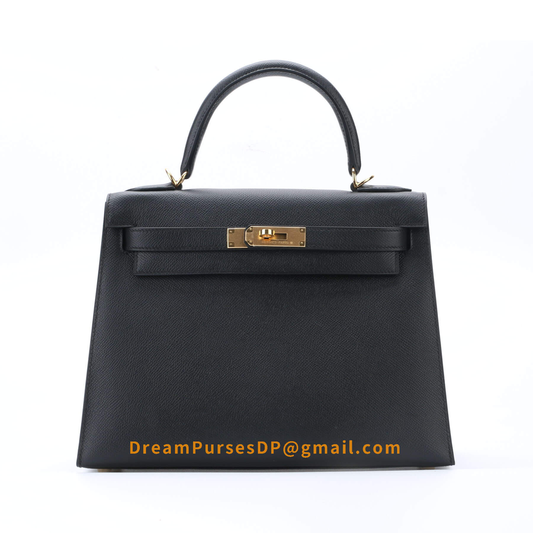 Hermes Kelly 28 Black Epsom Leather GHW