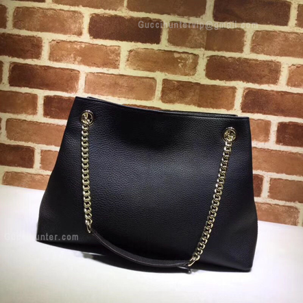 Gucci Replica Soho Leather Shoulder Bag Black back view