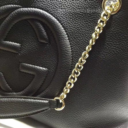 Gucci Replica Soho Leather Shoulder Bag Black Chain