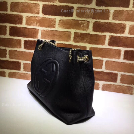 Gucci Replica Soho Leather Shoulder Bag Black side view