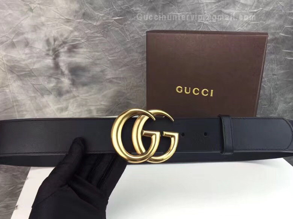 Gucci Leather Replica Belt with Double G Buckle Black