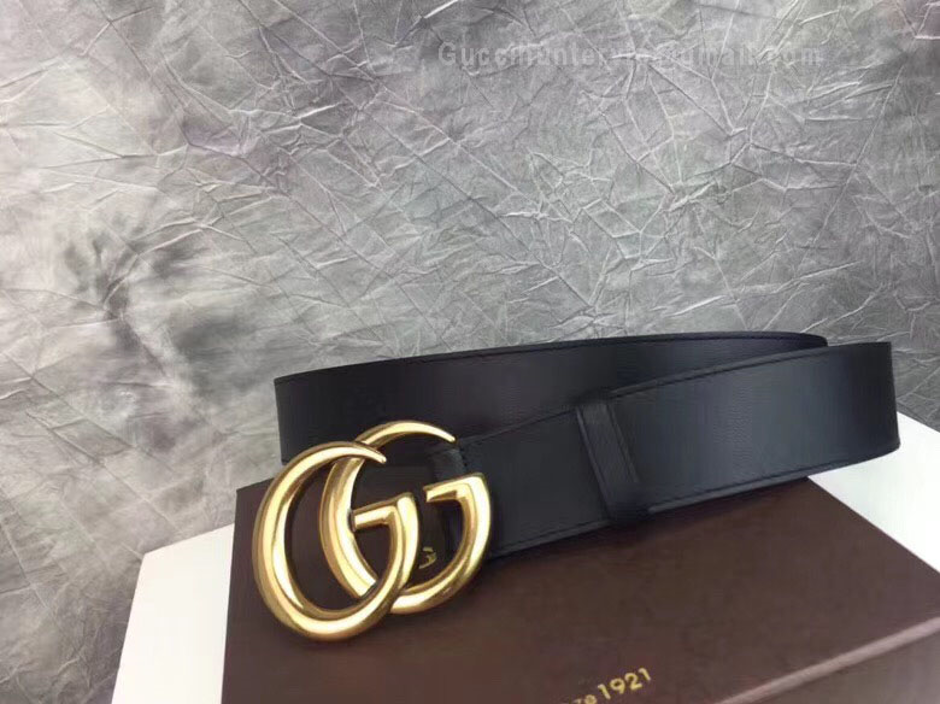 Replica Gucci Leather Belt with Double G Buckle Black